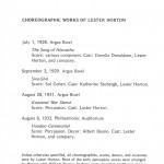 Lester Horton Chronologies