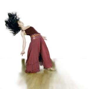 Dancer with head swinging back